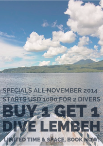 Dive Lembeh Buddy Week, All November Long 2014 Buy 1 and Dive For 2 Person